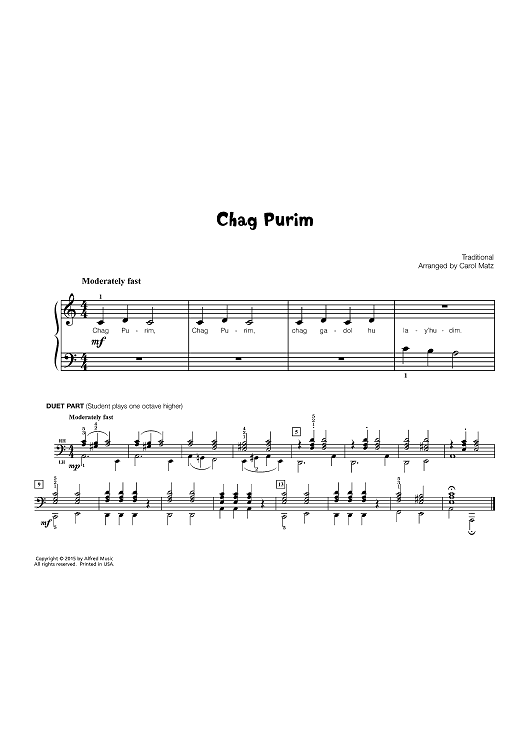 Chag Purim (Early Elementary Piano)
