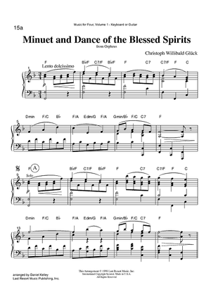 Minuet and Dance of the Blessed Spirits - from Orpheus - Keyboard or Guitar