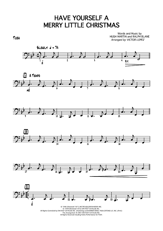 Have Yourself A Merry Little Christmas Lead Sheet.Have Yourself A Merry Little Christmas Tuba