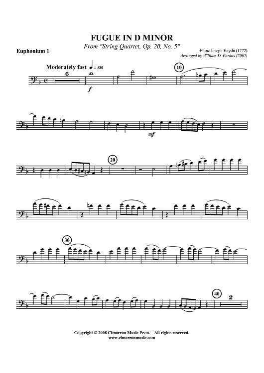 "Fugue in D Minor from ""String Quartet, Op. 20 No. 5"" - Euphonium 1 BC/TC"