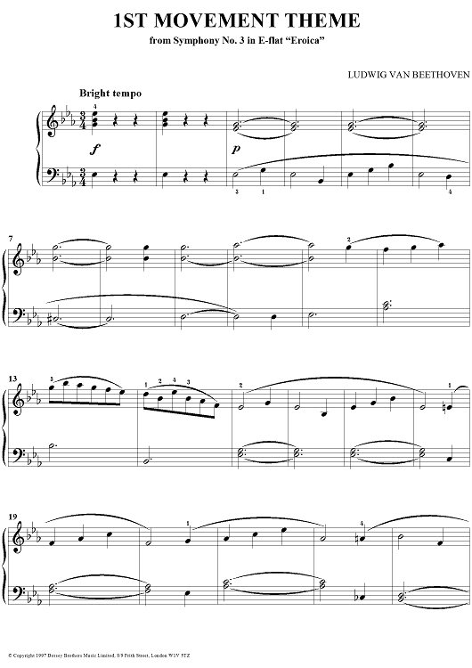 "The 1st Movement Theme from Symphony No. 3 in E-flat Major ""Eroica"""