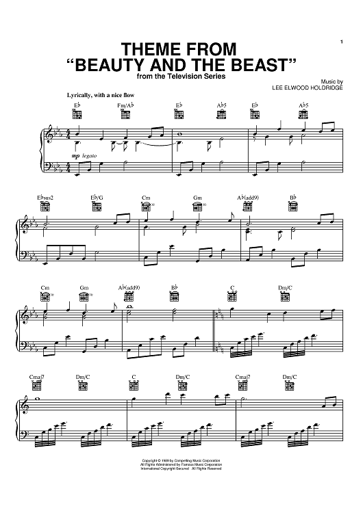 Buy Theme From 39 Beauty And The Beast 39 Sheet Music By Lee Elwood Holdridge For Piano Voc