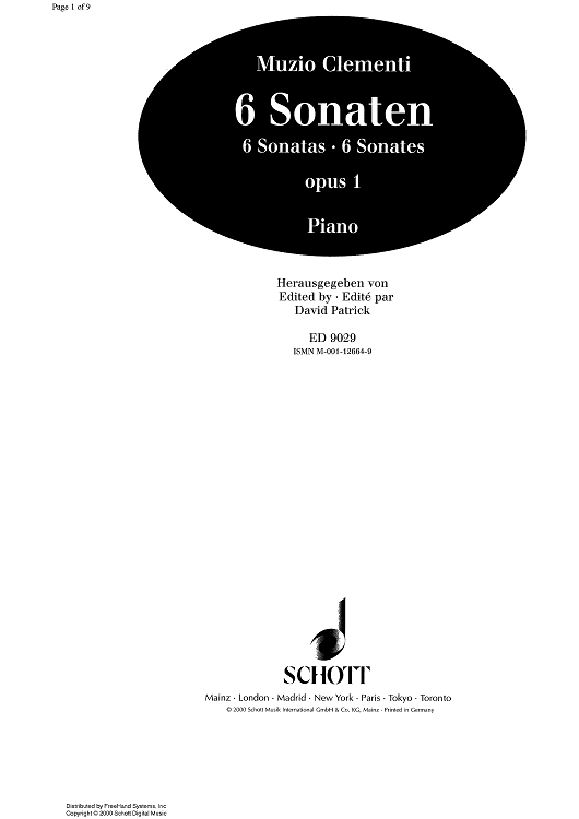 Sonata Op.1 No. 6 E Major