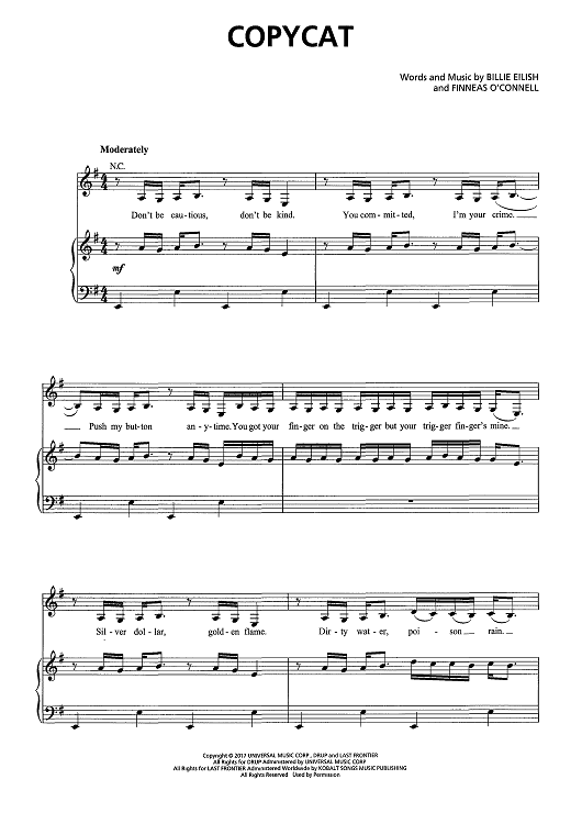 Buy Copycat Sheet Music By Billie Eilish For Piano Vocal Chords