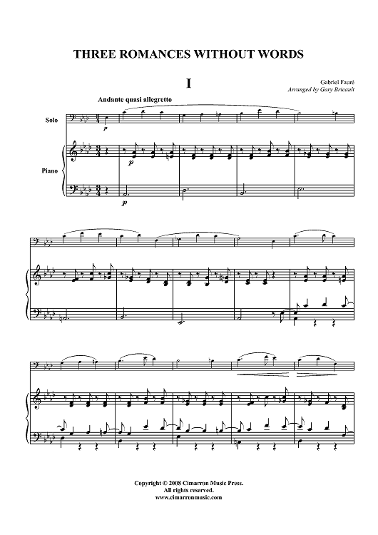 Three Romances Without Words - Piano Score