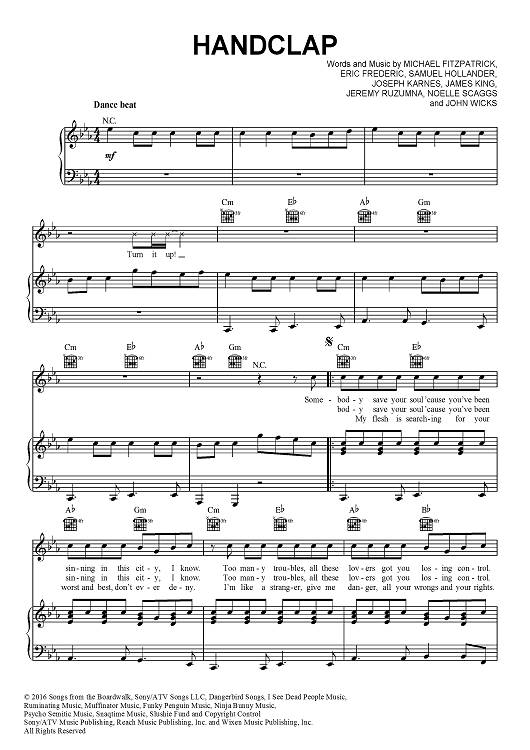 Buy Handclap Sheet Music By Fitz And The Tantrums For Piano Vocal Chords Em a7 d for the lord he is almighty god. handclap