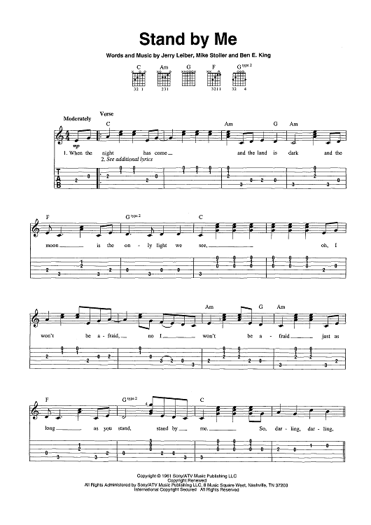 stand by me by ben e king scored for easy guitar tab vocal chords. Black Bedroom Furniture Sets. Home Design Ideas