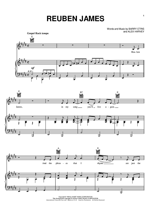 Buy Reuben James Sheet Music By Kenny Rogers For Piano Vocal Chords