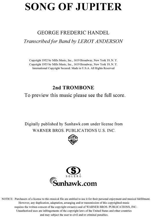 Song of Jupiter (Trombone 2 Part) - Trombone 2