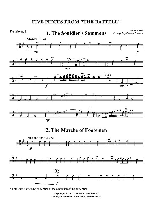 "Five Pieces From ""The Battell"" - Trombone 1"
