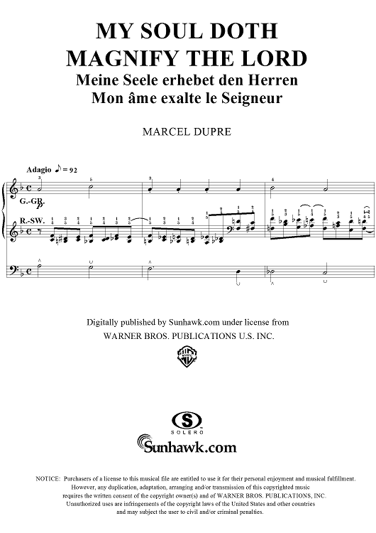 "My Soul Doth Magnify the Lord, from ""Seventy-Nine Chorales"", Op. 28, No. 55"