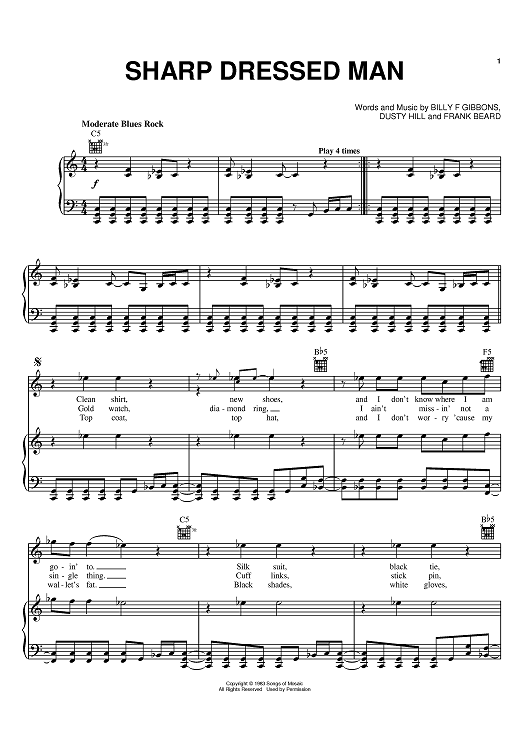 Buy Sharp Dressed Man Sheet Music By Zz Top For Piano Vocal Chords