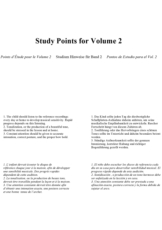 Study Points for Volume 2