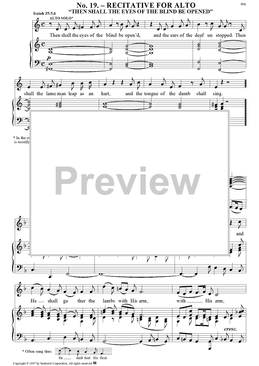 Messiah (Piano Reduction), no. 19: Then shall the eyes of the blind be opened