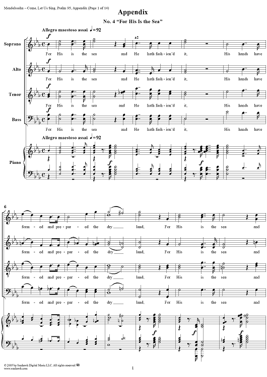Come, Let Us Sing (Psalm 95), Op. 46: No. 4, For His Is the Sea (Solo and Chorus)
