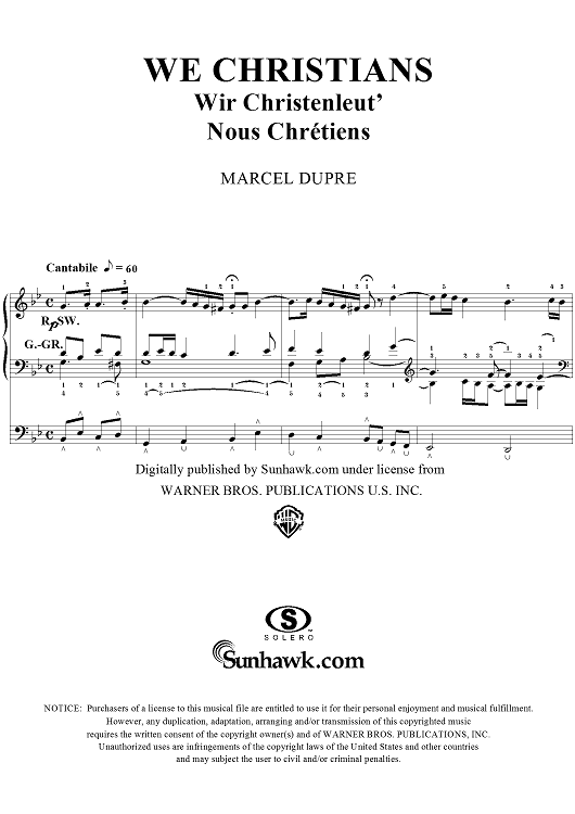 "We Christians, from ""Seventy-Nine Chorales"", Op. 28, No. 75"