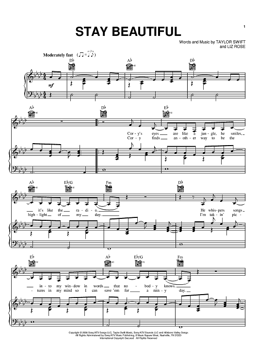 Buy Stay Beautiful Sheet Music By Taylor Swift For Piano Vocal Chords
