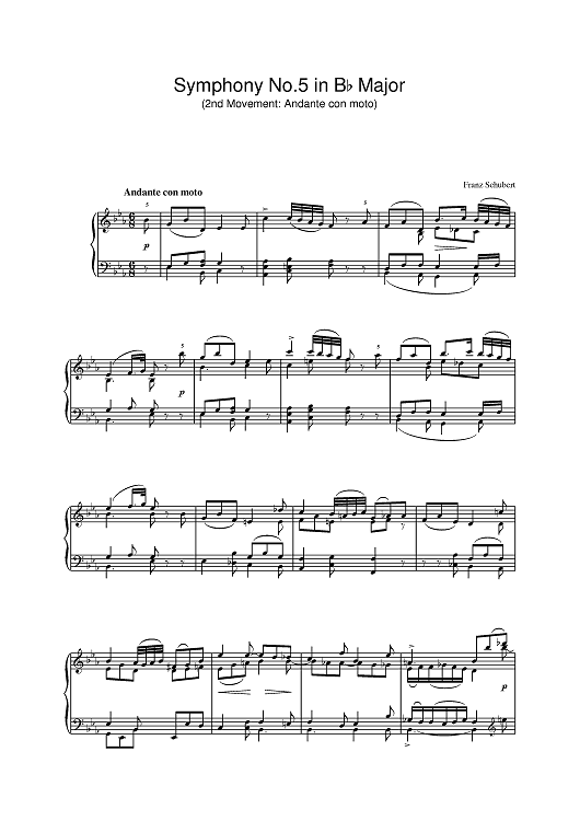 Symphony No.5 in Bb Major - 2nd Movement: Andante con moto
