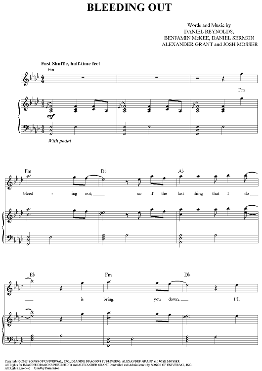 bleeding out imagine dragons piano sheet music free