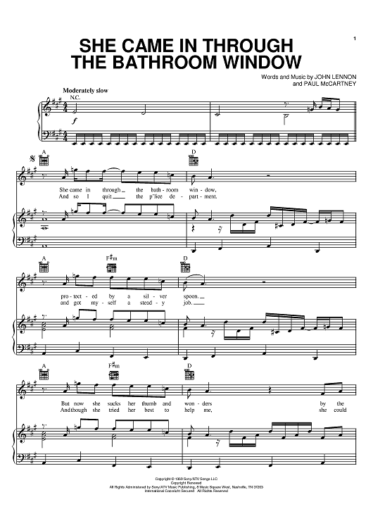 Buy She Came In Through The Bathroom Window Sheet Music By The Beatles Joe Cocker For Piano Vo