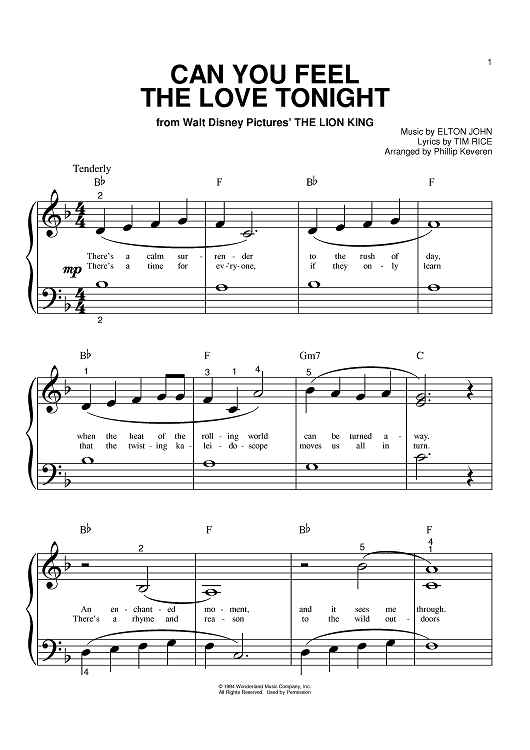 Buy Can You Feel The Love Tonight Sheet Music By Elton John For Big Note Piano