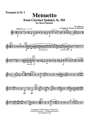 Menuetto from Clarinet Quintet, K. 581 - Trumpet 1