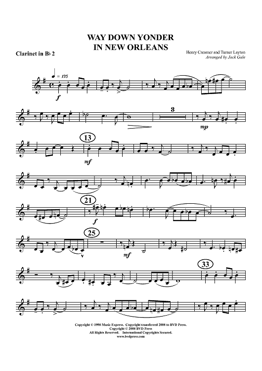 Way Down Yonder in New Orleans - Clarinet 2 in B-flat