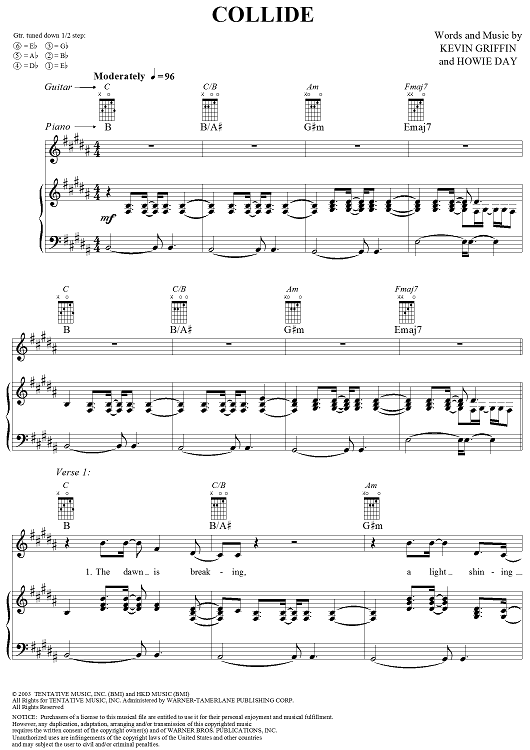 Buy Collide Sheet Music By Howie Day For Piano Vocal Chords