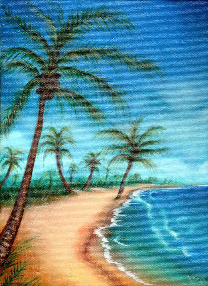 tropical painting, ocean painting, beach painting, palm tree painting,