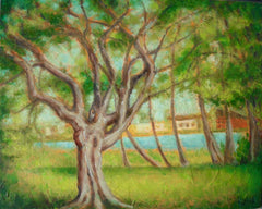 tree painting, hills painting, green painting, lush green painting, cadillac michigan painting,