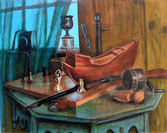 artifacts painting, desk painting, still life,