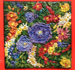 Floral painting, impasto painting, flowers painting, floral art,