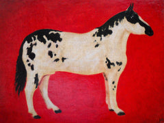 americana painting, horse painting, red painting,