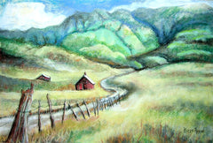 valley painting, valley artwork, country painting, shed painting, red barn painting, old fence painting, fence artwork, plains,
