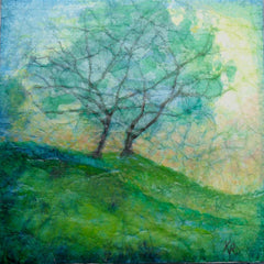 tree painting, hills painting, green painting, lush green painting,