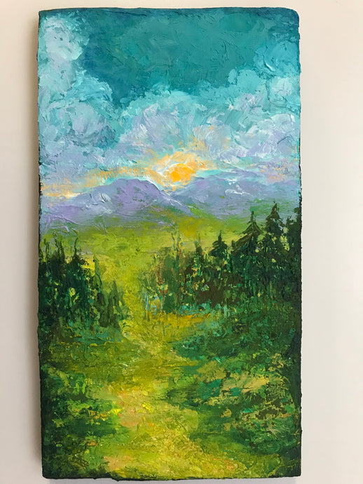 Sunset painting, mountains painting, valley painting, landscape painting, pine tree painting, michigan painting, michigan art, michigan artist, made in in michigan, michigan artwork,