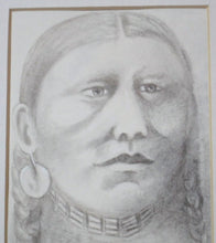 Load image into Gallery viewer, Sioux Indian Woman Drawing in Charcoal