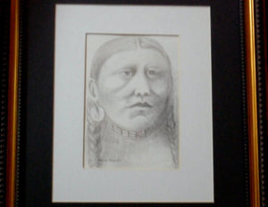 Sioux Indian Woman Drawing in Charcoal