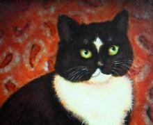 Load image into Gallery viewer, Oil Painting of black & white Cat