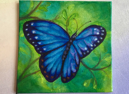 Blue Morpho Butterfly Painting