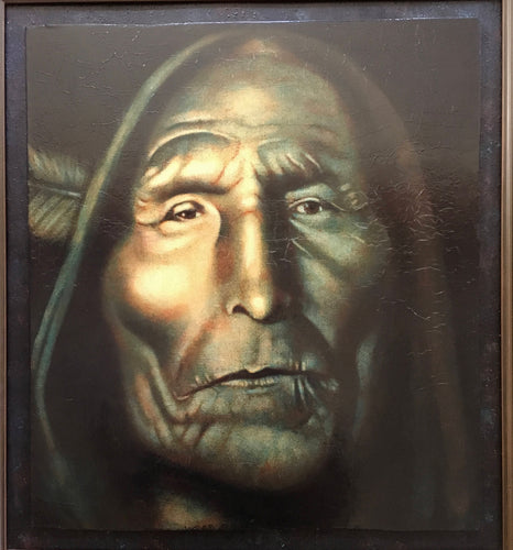Oil Portrait of Indian Chief Wolf Robe