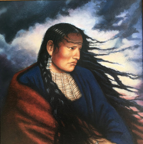 Art Print of American Indian Woman painting