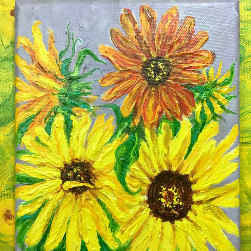Sunflower Bouquet Textured Painting on Canvas