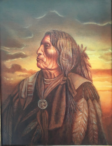 Sioux Indian Chief Slow Bull  Oil painting