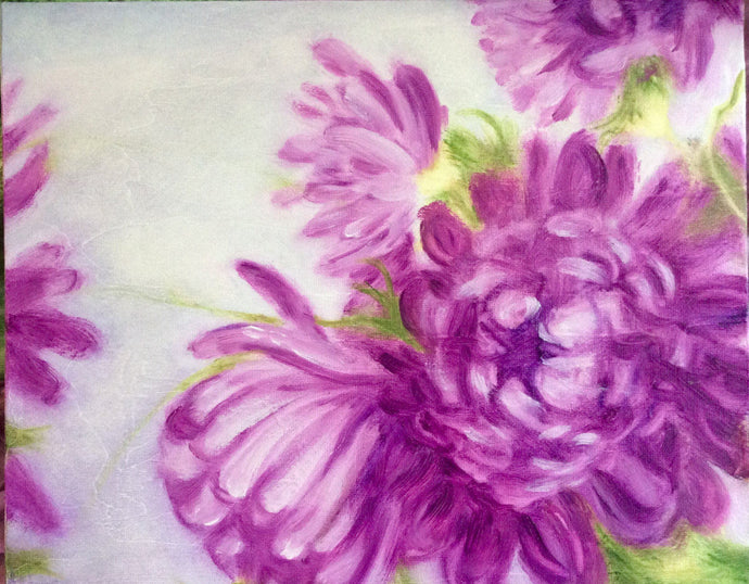 Floral Oil Painting of Purple Mums