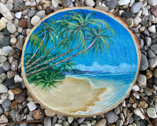 Tropical painting on Wood Slice