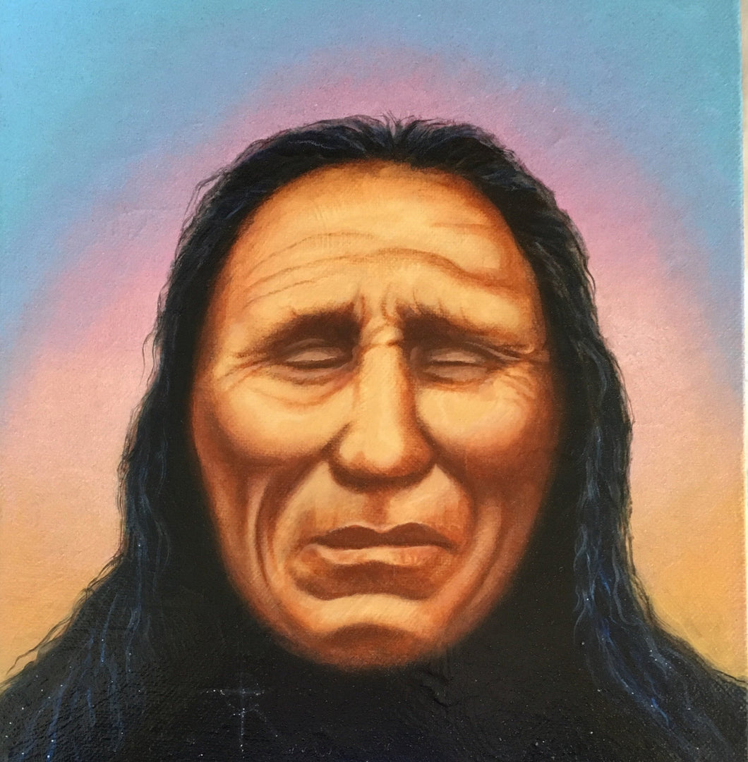 Original Painting American Indian Chief Portrait