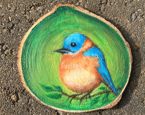 Bluebird Oil Painting on Woodslice