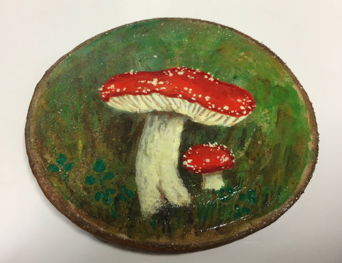 Treeslice Painting of Mushrooms