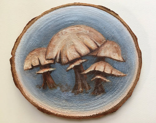 Mushroom Art on Woodslice with Easel